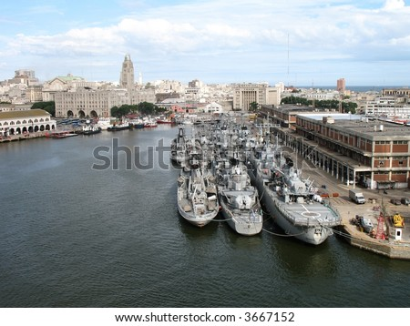 Harbor Montevideo Uruguay - stock photo