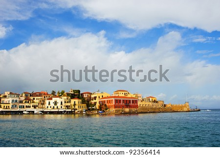Harbor of Chania/Crete/Greece - stock photo