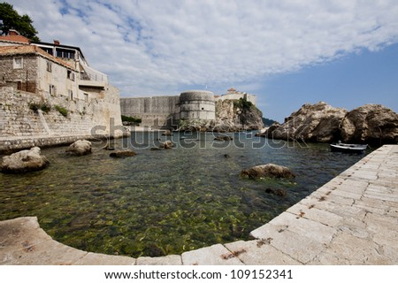 Harbor of Dubrovnik overlooking the fortress - Croatia