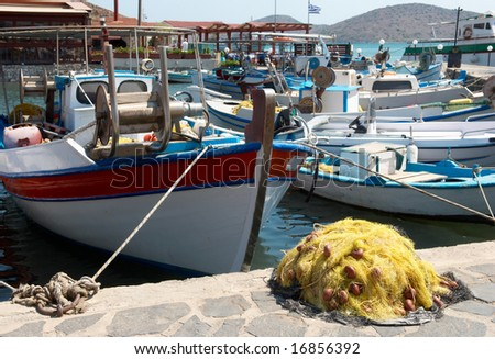 Harbor of Fisherman village in Crete island