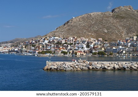 Harbor of Kalymnos island in Greece - stock photo