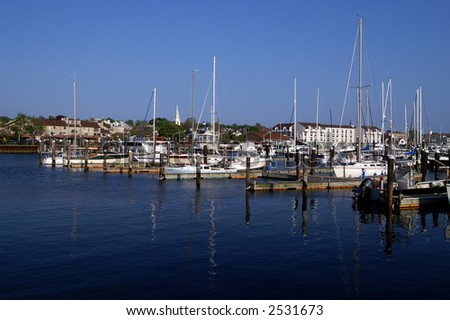 Harbor of Newport Rhode Island with Trinity Church in Background - stock photo