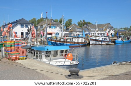 Harbor of Vitte on Hiddensee Island at baltic Sea in Mecklenburg western Pomerania,Germany