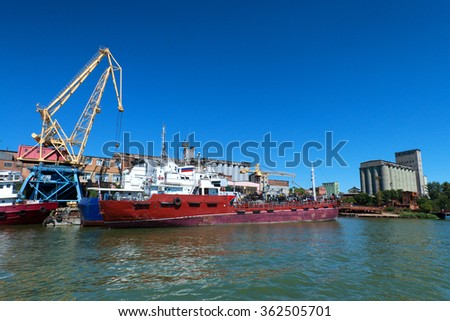 Harbor on river Don with cargo vessels - stock photo