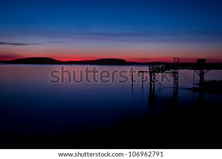 Harbor Sunrise in Bar Harbor, Maine overlooking Frenchman�s Bay - stock photo