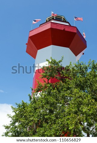 Harbor Town Lighthouse in Hilton Head, SC - stock photo