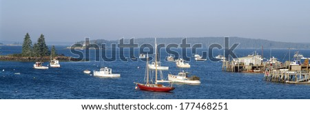 Harbor view of Lobster Village, Stonington, Maine - stock photo