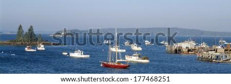Harbor view of Lobster Village, Stonington, Maine - stock photo