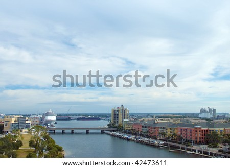 Harbor view of Tampa, Florida from high up, with ocean liner, marina, condos and river walk - stock photo