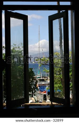 Harbor Window View - stock photo