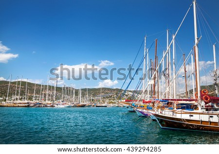 Harbor with boats in Aegean Sea in tropical Bodrum in sunny day, Turkey - stock photo