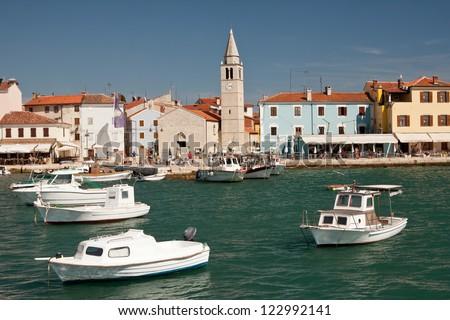 Harbor with boats in the city Fazana - Croatia - stock photo