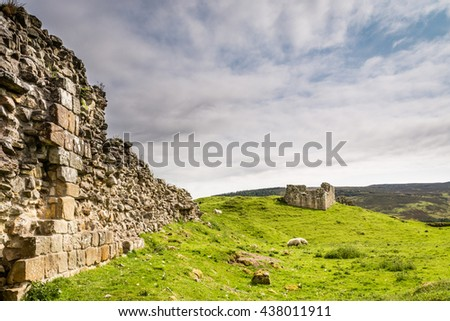 Harbottle Castle in Coquetdale / The ruined, medieval Harbottle Castle is situated on a mound in the Coquetdale Valley, Northumberland