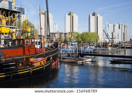 Harbour and apartment buildings in the city centre of Rotterdam, Netherlands.