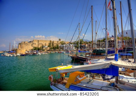Harbour and medieval castle in Kyrenia, North Cyprus - stock photo