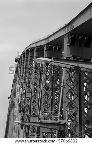 Harbour bridge metal construction fragment crop of arch bow element