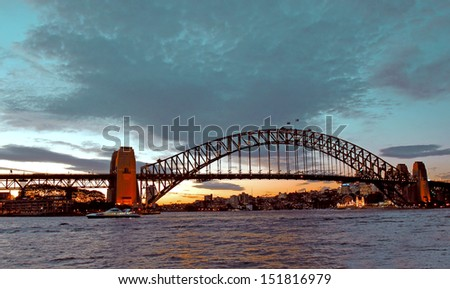 Harbour Bridge Sydney Australia during lovely winter evening. - stock photo