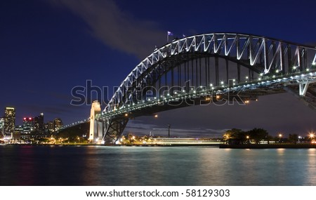 Harbour bridge sydney australia night sky highlighted illumination lamps - stock photo