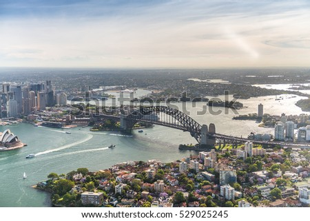 Harbour Bridge view from helicopter, Sydney, Australia.