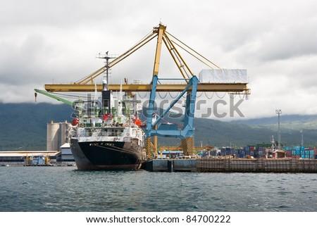 harbour crane - stock photo
