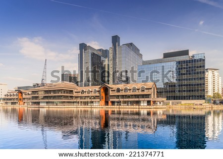 Harbour Exchange on South Quay - stock photo