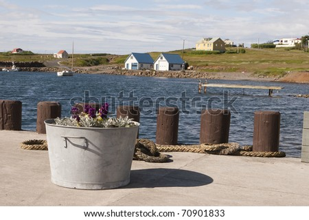 Harbour in Hrísey - stock photo