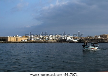 Harbour in small tunisian town - stock photo