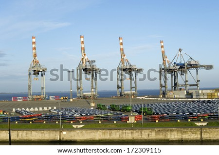 Harbour of Bremerhaven, Germany - stock photo
