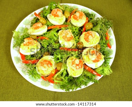 Hard boiled filled eggs with shrimp and mayonnaise