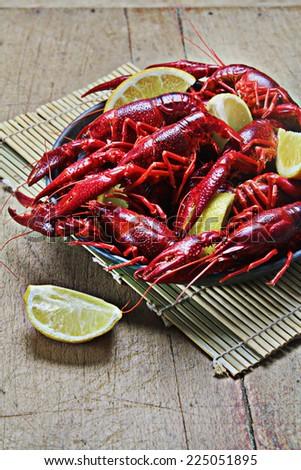 hard boiled red crayfish - stock photo