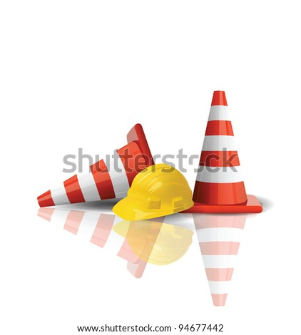 Hard cap with traffic cones isolated - stock photo