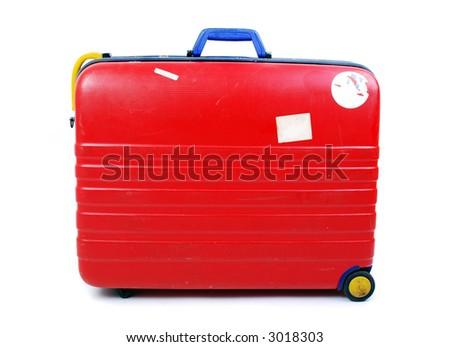 Hard case luggage on white background - stock photo