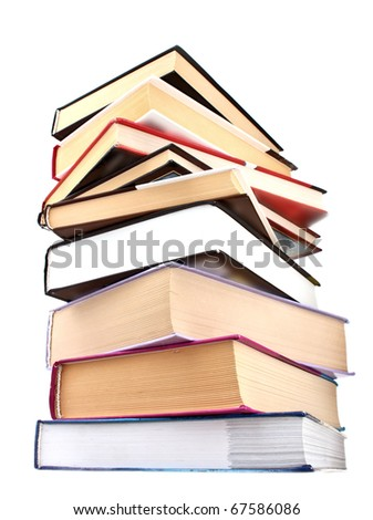 Hard cover books isolated on white - stock photo