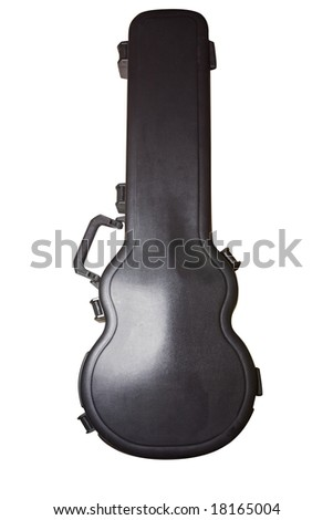 Hard cover guitar case isolated on white with clipping path - stock photo