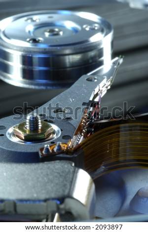 Hard disc. Focus on heads.Macro. - stock photo