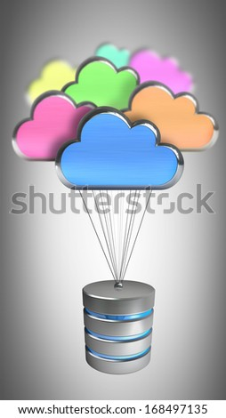 Hard disk and database icon on the clouds High resolution 3d  - stock photo