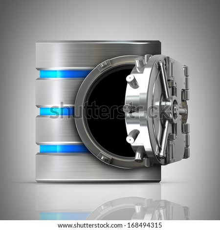 Hard disk and database with bank vault door High resolution 3d  - stock photo