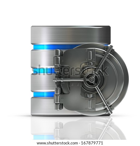 Hard disk and database with bank vault door  isolated on white background High resolution 3d  - stock photo