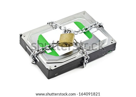 hard disk and pad lock for data secure  - stock photo