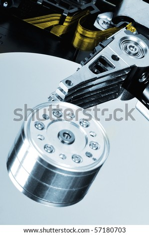 hard disk drive detail blue colored picture - stock photo