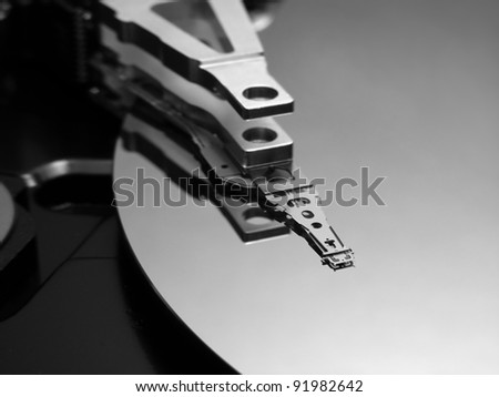 Hard disk drive detail. Macro image with selective focus. - stock photo