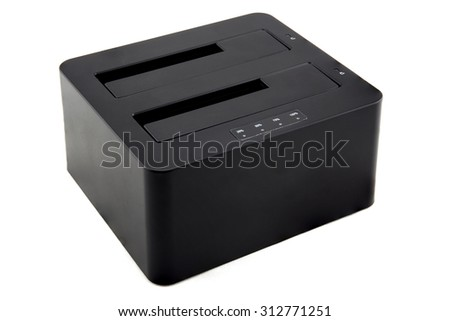 Hard disk drive dock station isolated on white background - stock photo