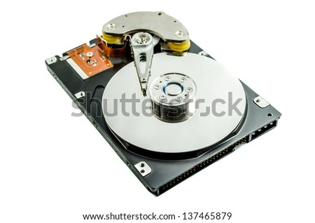 Hard disk drive inside. Data safety concept.