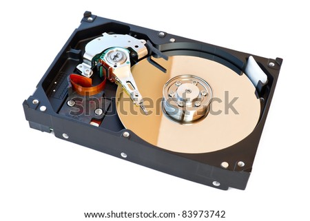 Hard Disk Drive, inside of HDD isolated on white background - stock photo