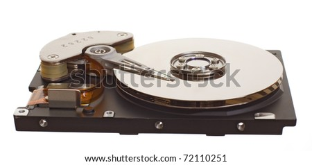 Hard disk drive isolated on the white background - stock photo