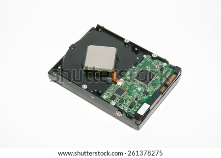 hard disk drive  isolated on white in studio - stock photo