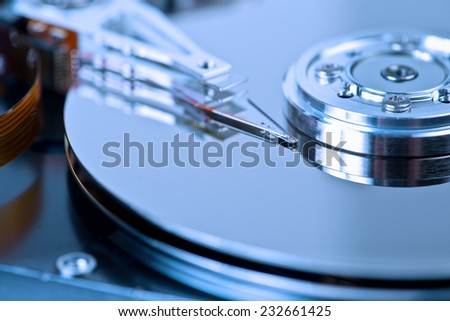hard disk drive macro background - stock photo
