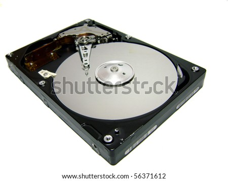 Hard disk drive on a white background