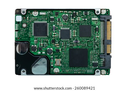 Hard disk drive over white background - stock photo