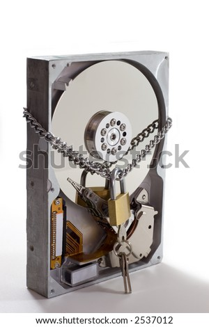Hard disk drive with lock - stock photo